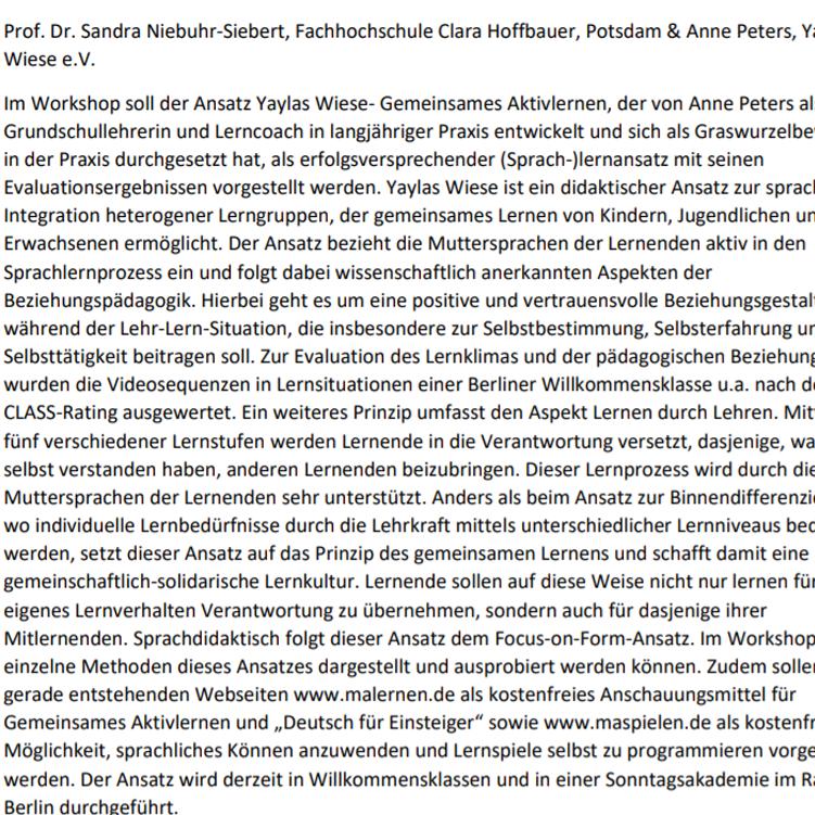 Prof. Dr. Sandra Niebuhr-Siebert von der Fachhochschule Clara Hoffbauer in Potsdam berichtet über unseren Lernansatz